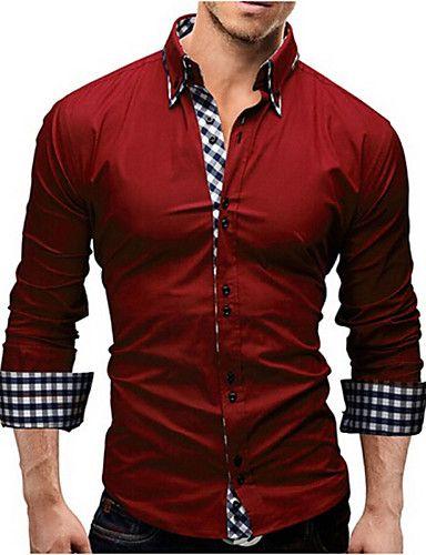 0b5cf9173 Hombre Formal Casual Diario Trabajo Camisa Un Color A Cuadros Manga Larga  Poliéster 4708669 2017 –  25.386