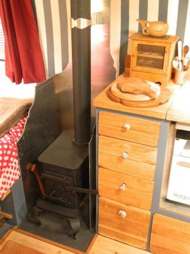 Small Space By Bed Wood Burning Stove