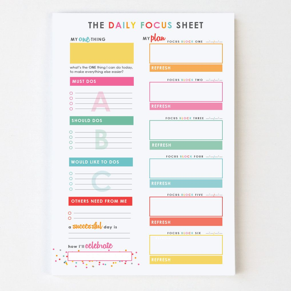 daily focus sheet u2122 sticky notes