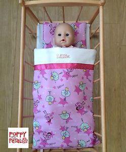 Doll Bedding Duvet Personalised Ballerina Design Dolls Pram Quilt ... : dolls pram quilt sets - Adamdwight.com