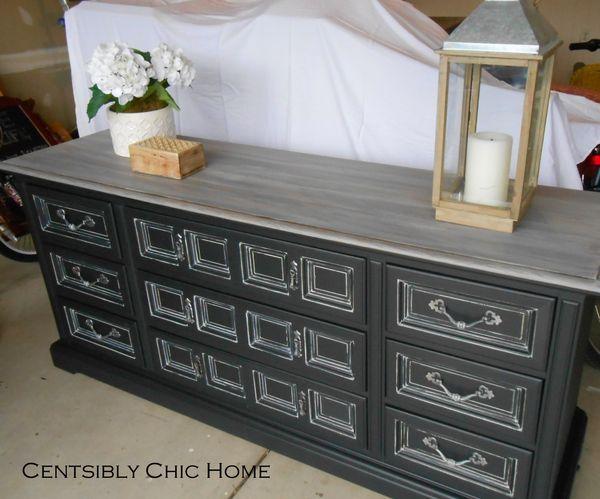 Gray Glaze Over Black Paint Rustic Dresser Black Painted Dressers Custom Furniture