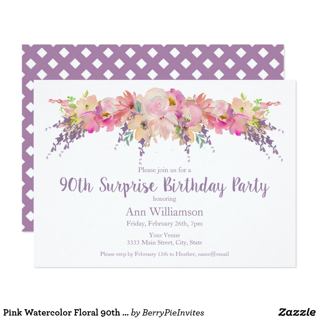 Pink Watercolor Floral 90th Surprise Birthday Invitation | { Happy ...