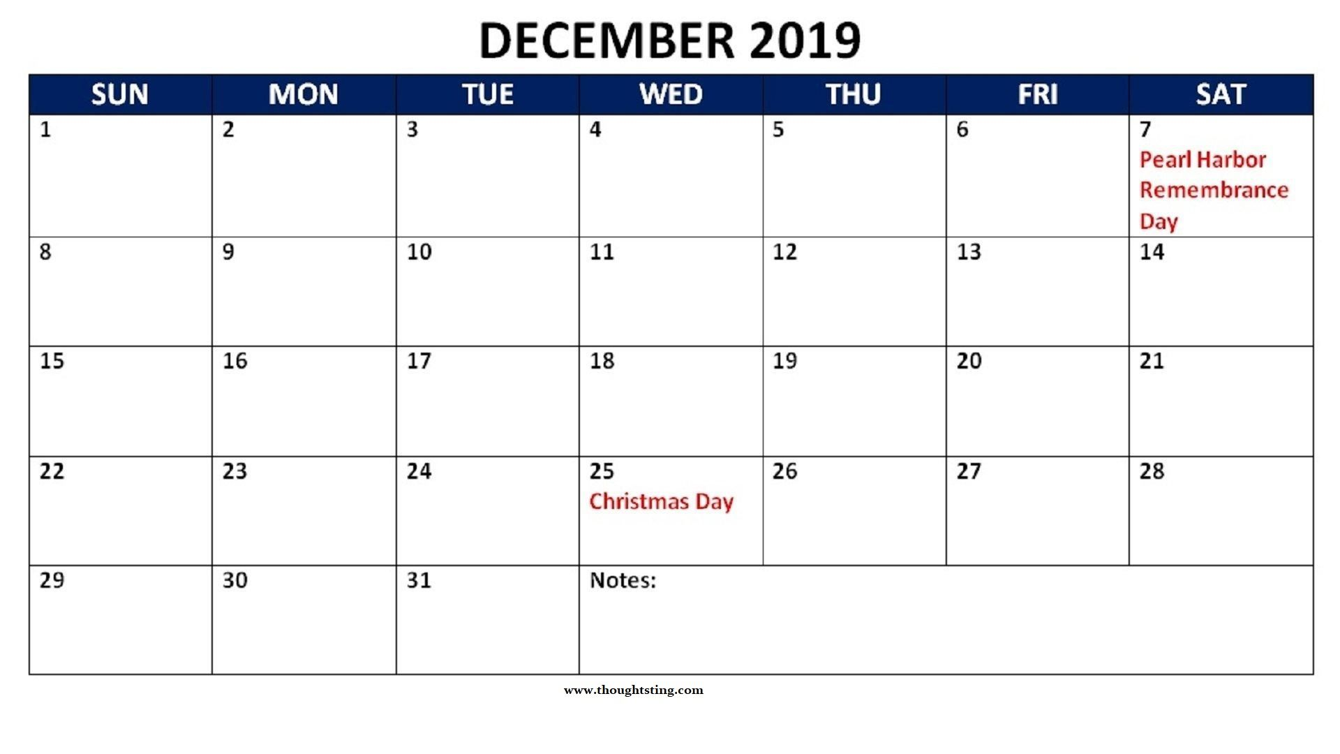 December 2019 Calendar Printable Template Pdf Word Excel