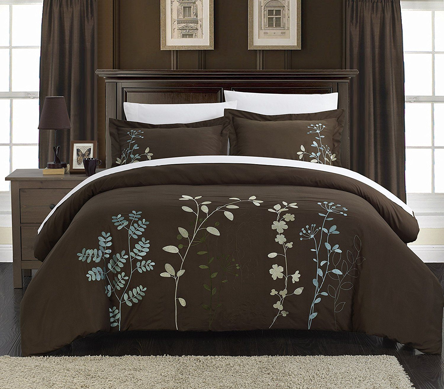 Chic Home 3 Piece Kaylee Floral Embroidered Duvet Set King Brown
