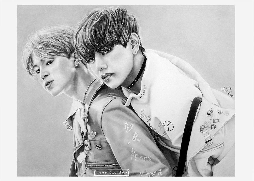 Bromance Vmin Ver By Noonday Sun Bts Fanart Fan Art Bts Drawings