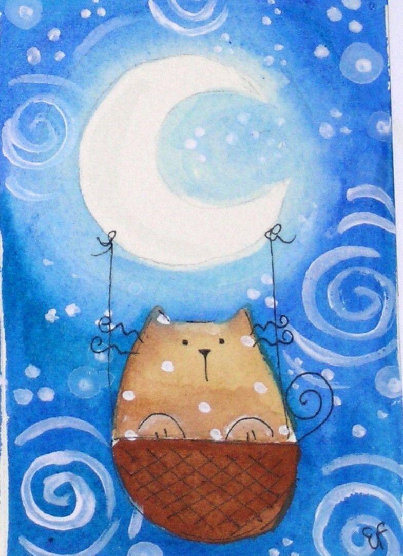happy cat moon balloon night stars- gatto luna stelle