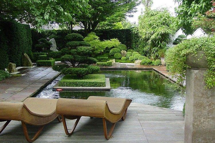 jardin asiatique avec terrasse en bois composite, bassin aquatique ...