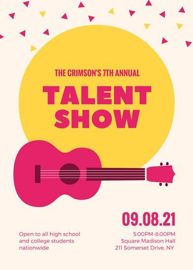Illustrated Guitar Confetti Talent Show Flyer canhan pohjia