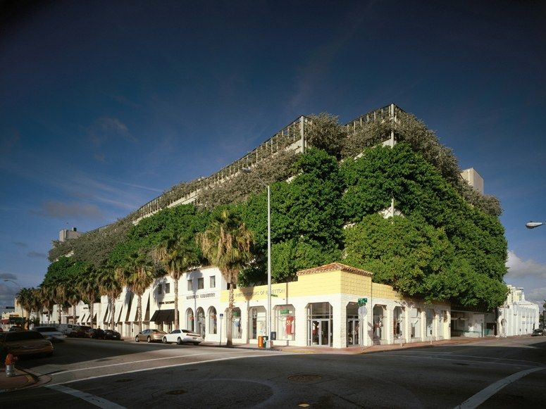 Arquitectonica built this six-level garage that's been nicknamed the Chia Pet because of the plants spilling out of the roof and walls. Built in 1996, it was the first of Miami's destination garages.