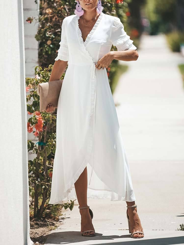 Professional women style, perfect for high heels- Half sleeve- V-neckline- Length: Maxi length- Delivery include: 1 x Maxi dress