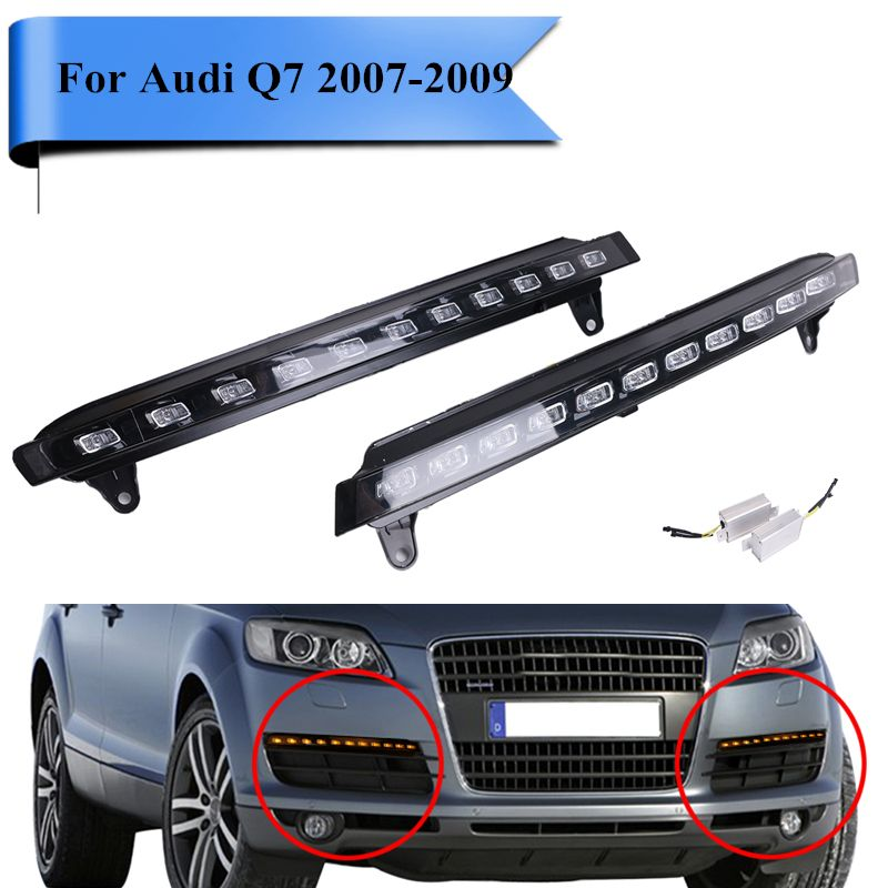 2x White Led Daytime Running Light For Audi Q7 2007 2008 2009 Drl Front Lower Fog Yellow Lamps With Controller Cable Pd560 Audi Q7 Car Lights Running Lights