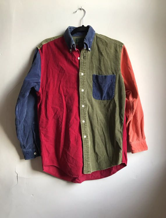 b6f50a952 Vintage J.Crew Colorblock Shirt | Mens 90s Button Down Shirt | Multi Color  Corduroy Shirt | JCrew Prep Shirt | Retro 90s Street Skater Shirt  CONDITION: ...