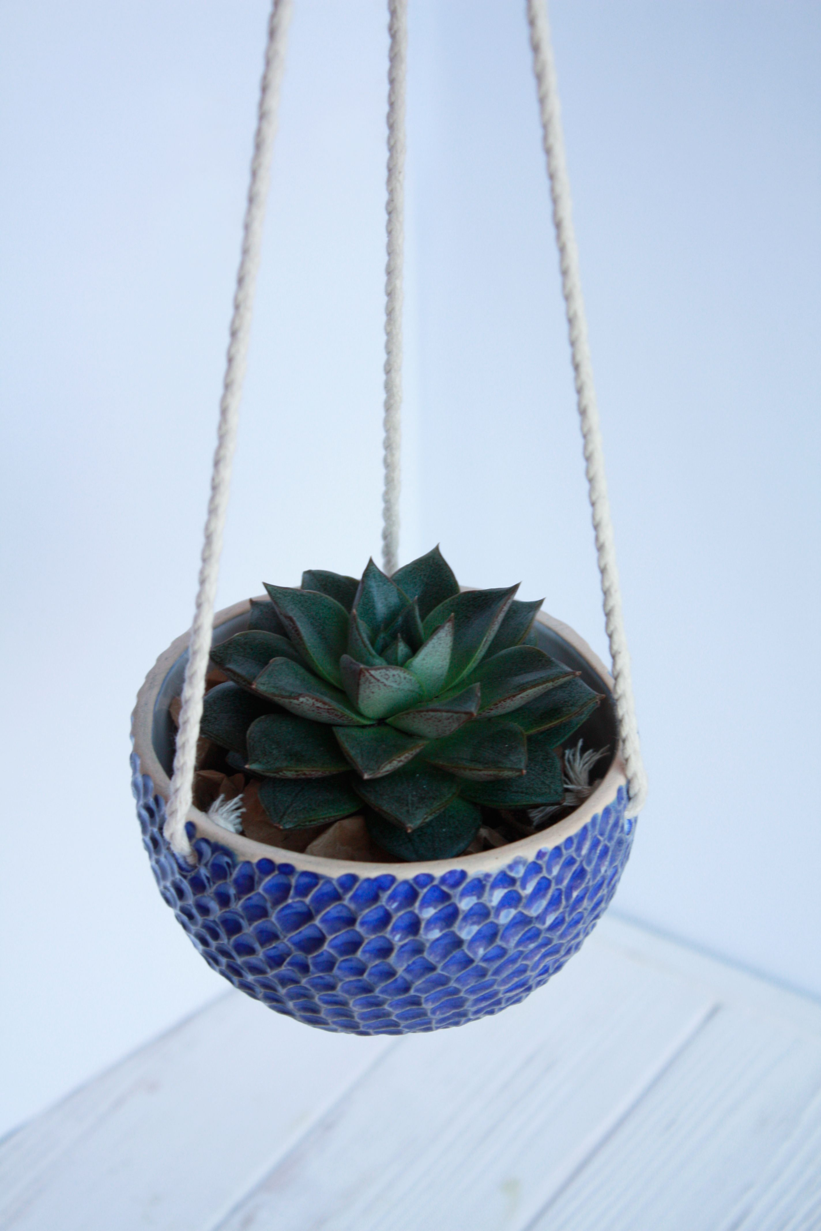 Blue hanging planter decor wall planter wall succulent planter modern hanging planter