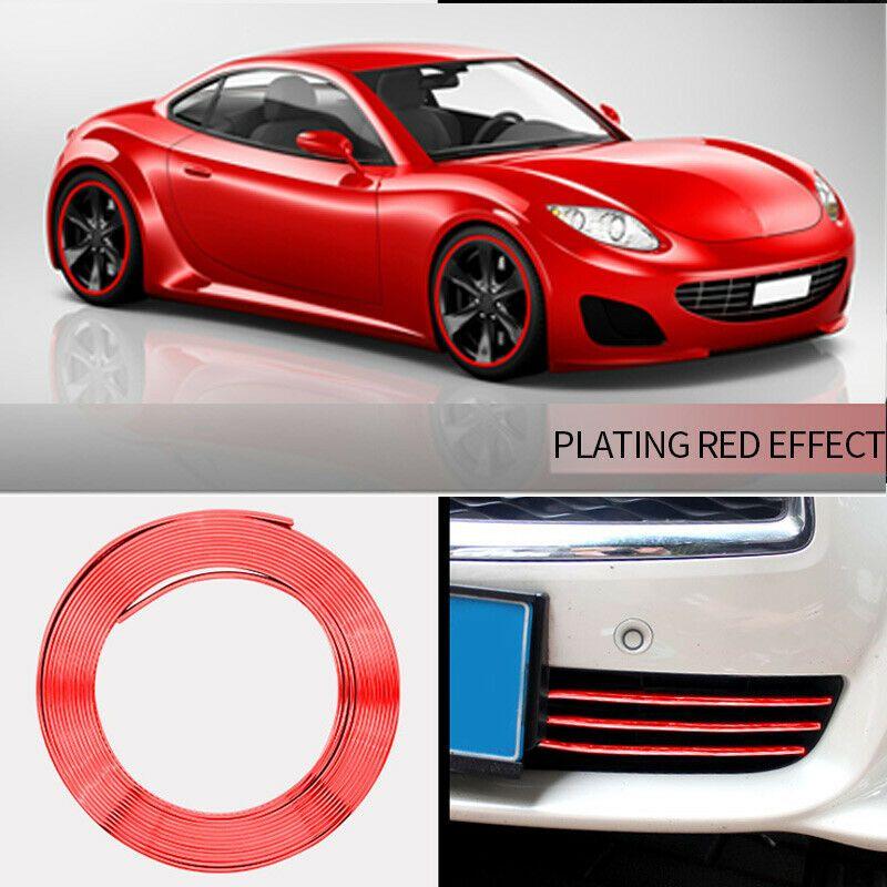 8M Car Wheel Hub Rim Edge Protector Ring Tire Strip Guard Red plating Decals