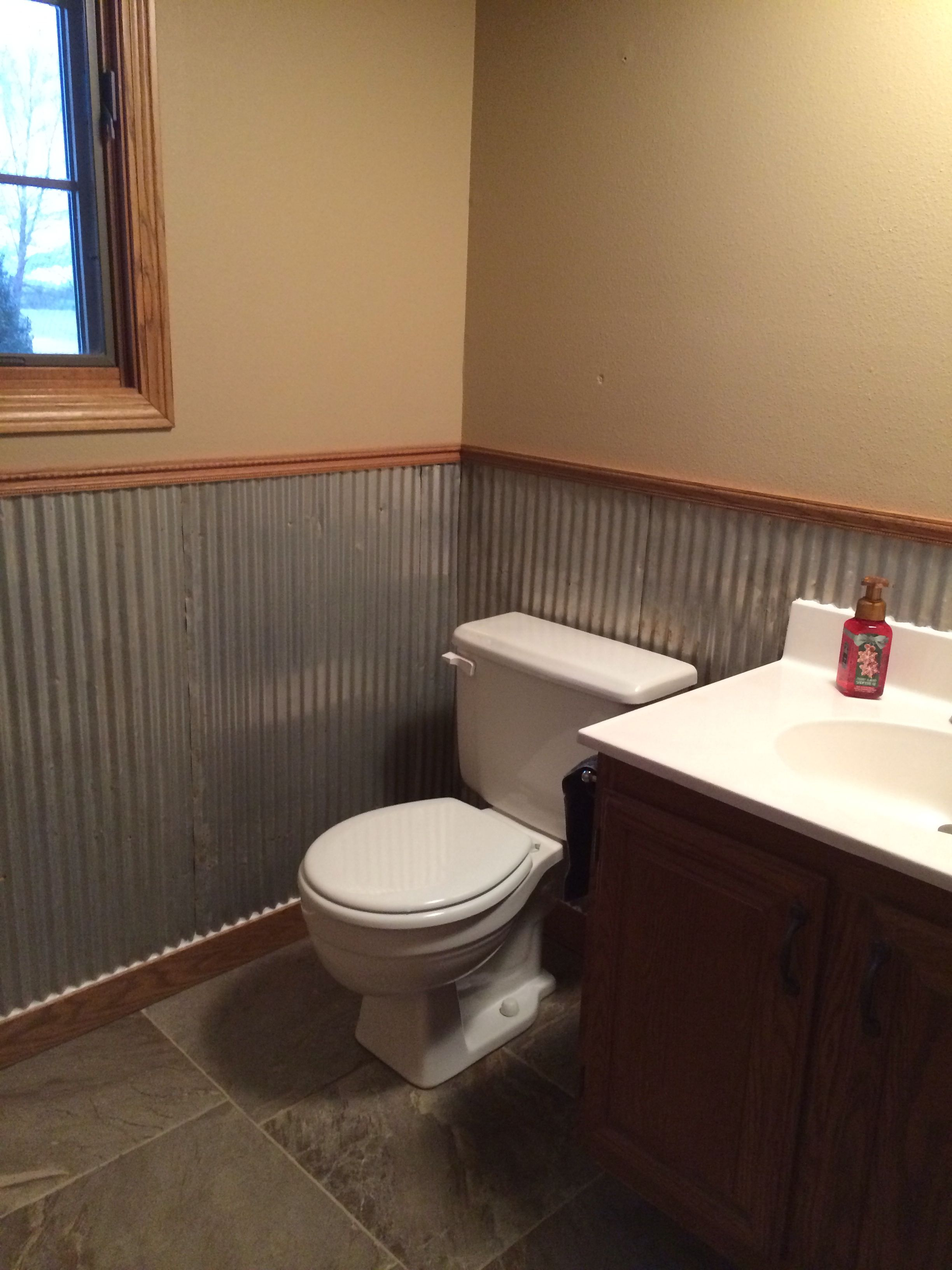 Old Galvanized Tin Used As Wainscoting In Half Bath Basement Bathroom Basement Bathroom Design Small Bathroom