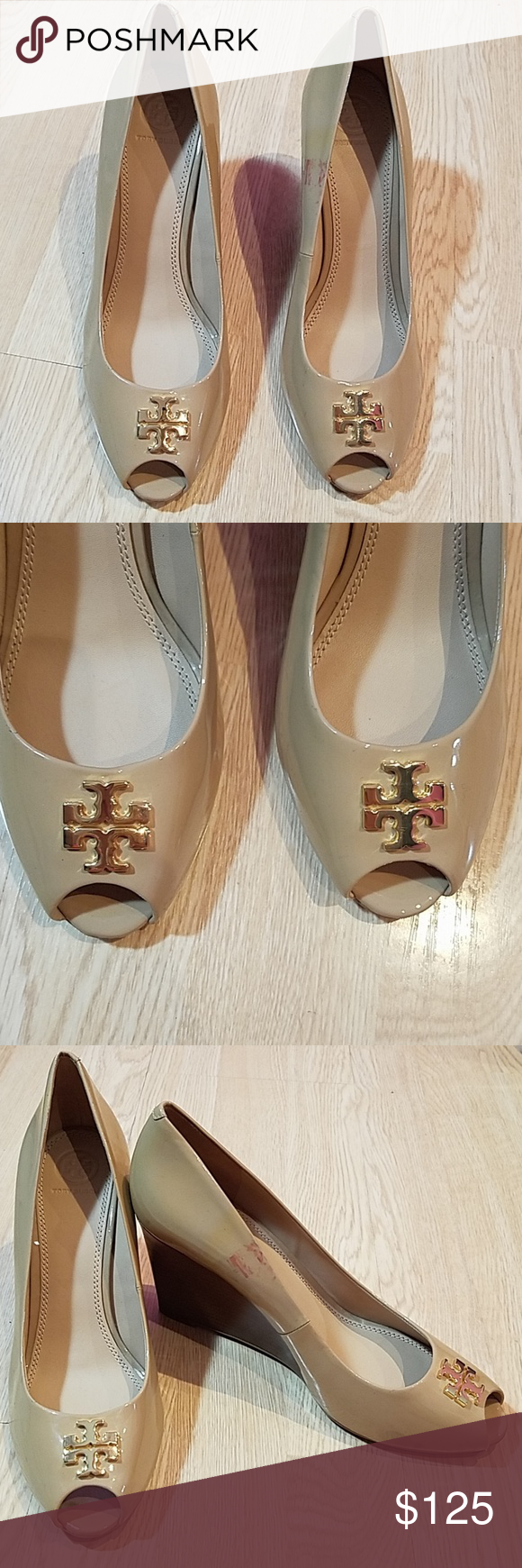 e91cb2dd022a TORY BURCH  JADE  Peep Toe Wedge Patent Leather store display ...