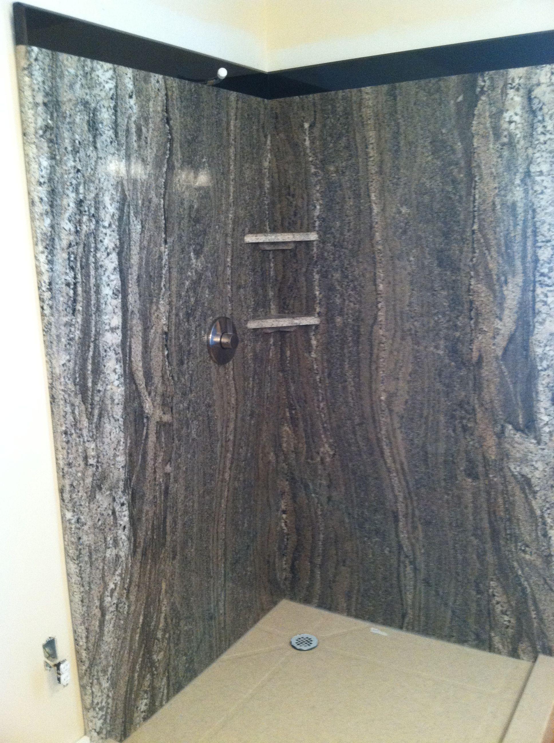 Custom Granite Shower Surround With Custom Pan