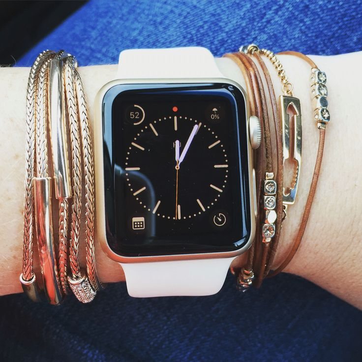 How to style an Apple Watch with layered bracelets. Love