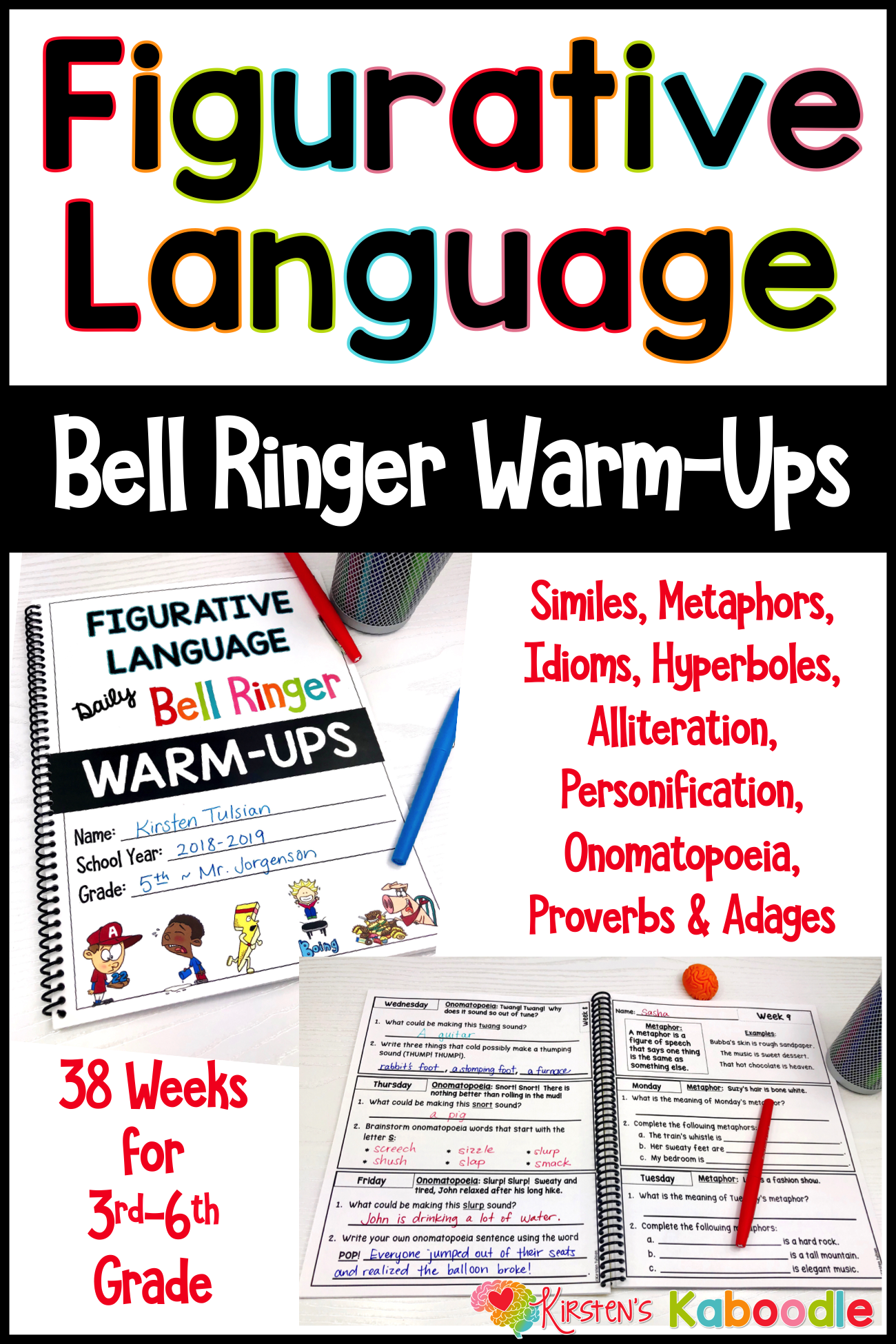 Figurative Language Bell Ringers Warm Up Activities