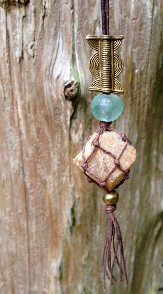 High Quality Macrame Raw Moonstone Necklace With Decorative By JLFreshandCo