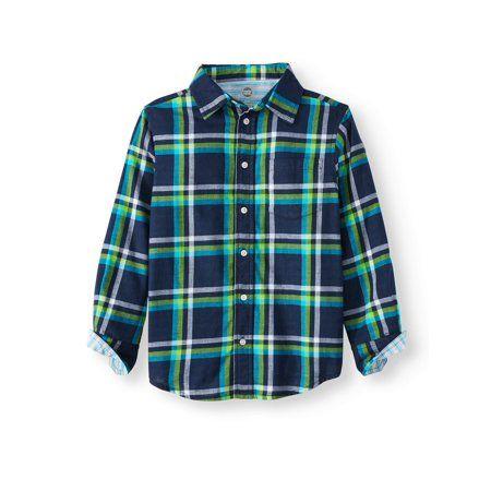 f2a2b95c7 Wonder Nation Long Sleeve Woven Shirts (Little Boys & Big Boys), Size: XL  (14/16), Blue