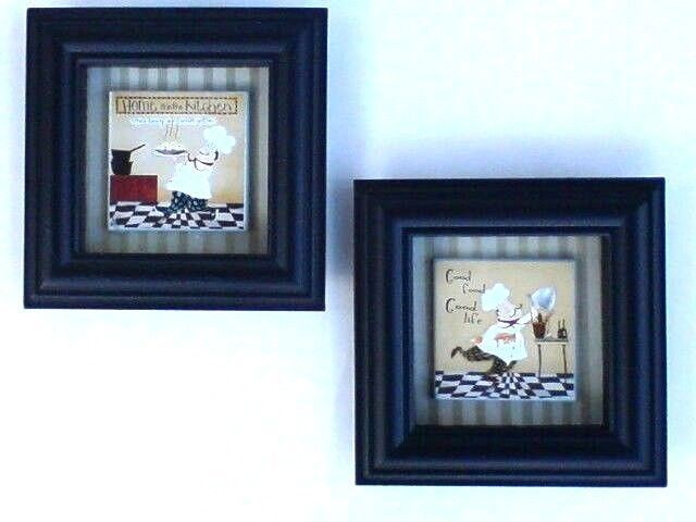 SET OF 2 FAT ITALIAN FRENCH CHEF BISTRO Shadow Boxes Wall Decor Art Kitchen  #INTERIORSBYDESIGN #ShadowBox