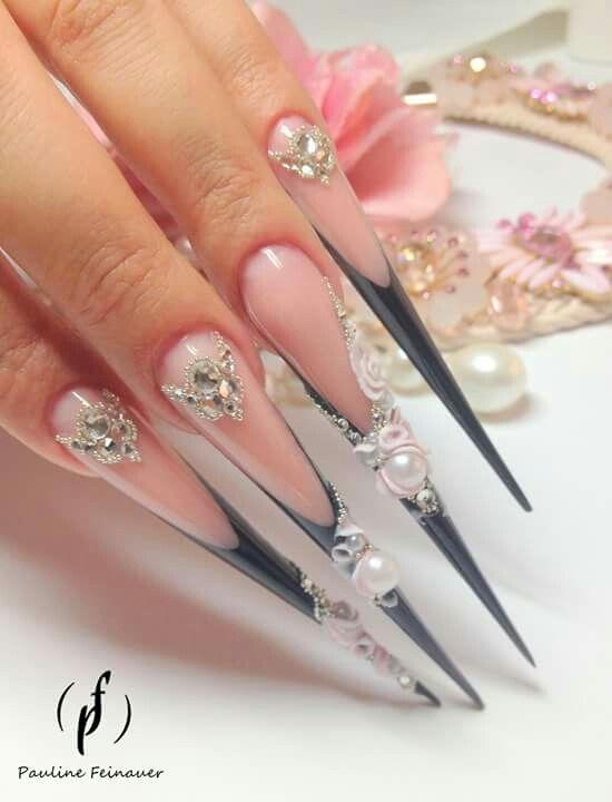 Perlas Uñas De Acuario Uñas Largas Y Uñas Stiletto