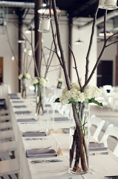 I love the idea of using branches for center pieces
