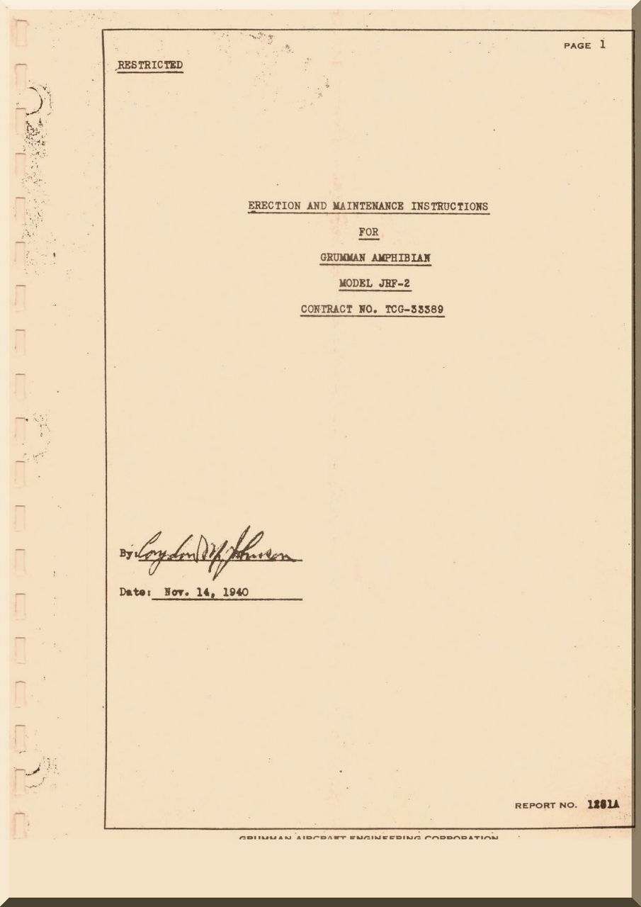 Grumman JRF-2 Aircraft Erection and Maintenance Instructions Manual -1940 -  Aircraft Reports - Aircraft Helicopter Engines Propellers Manuals  Blueprints ...