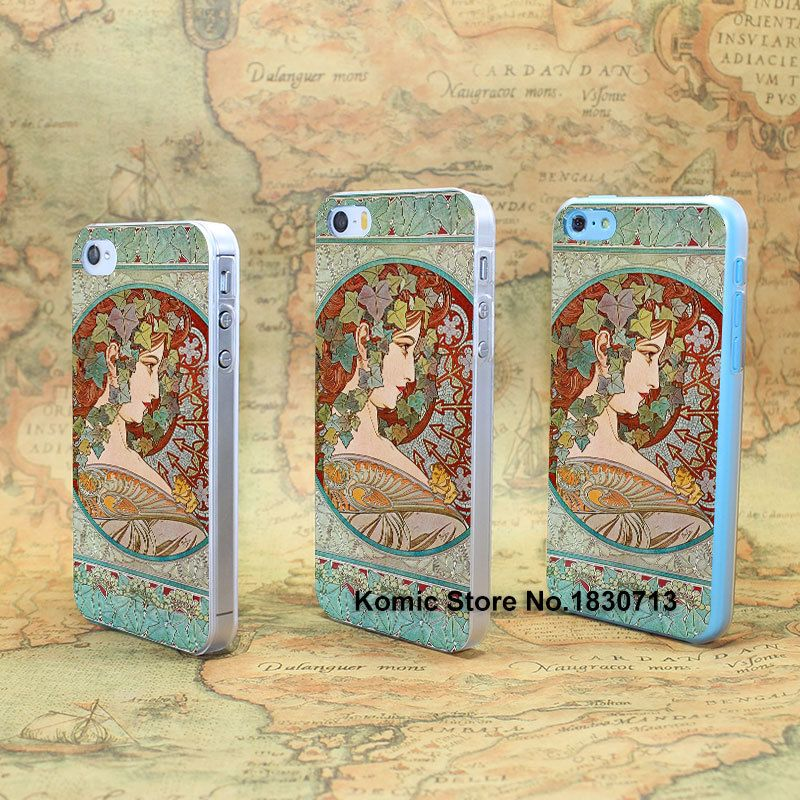 alfons mucha Design hard transparent clear Skin Cover Case for iPhone 4 4s 4g 5 5s 5g 5c