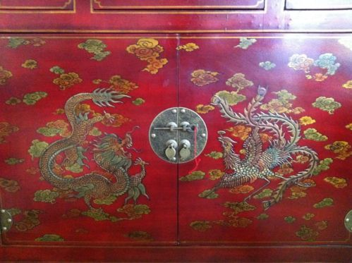 Red Lacquered Chinese Oriental Furniture Cabinet/chest | EBay