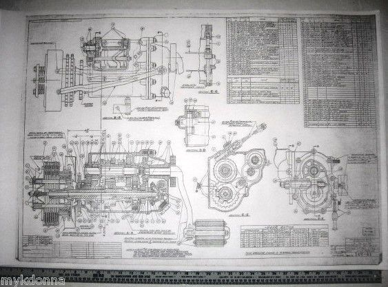 harley davidson blueprint plans v2 transmission & clutch vtg parts list big  twin