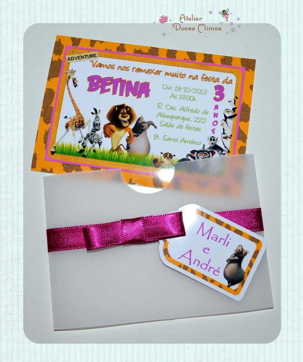 Convite Madagascar http://atelierdocesmimos.blogspot.com.br/