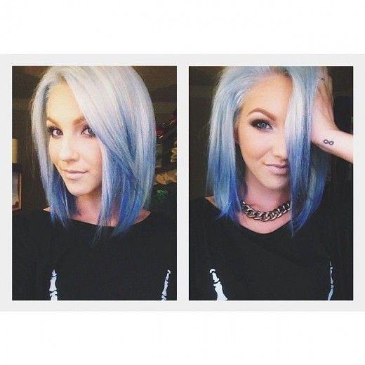 Pastel Hair Blue Icy White Dip Dye Hair Styles Bob Hair Color Hair Makeup
