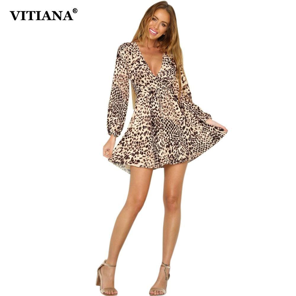 VITIANA Women Sexy Party Dress Female 2017 Autumn Deep V-Neck Long Sleeve  Leopard Print Clubwear Short Mini Dresses Vestidos bcd0d23df