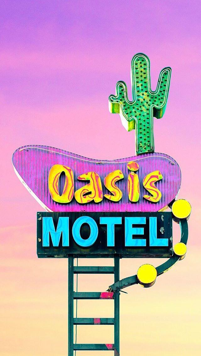 Matt Crump photography iPhone wallpaper Pastel Bermuda motel neon sign