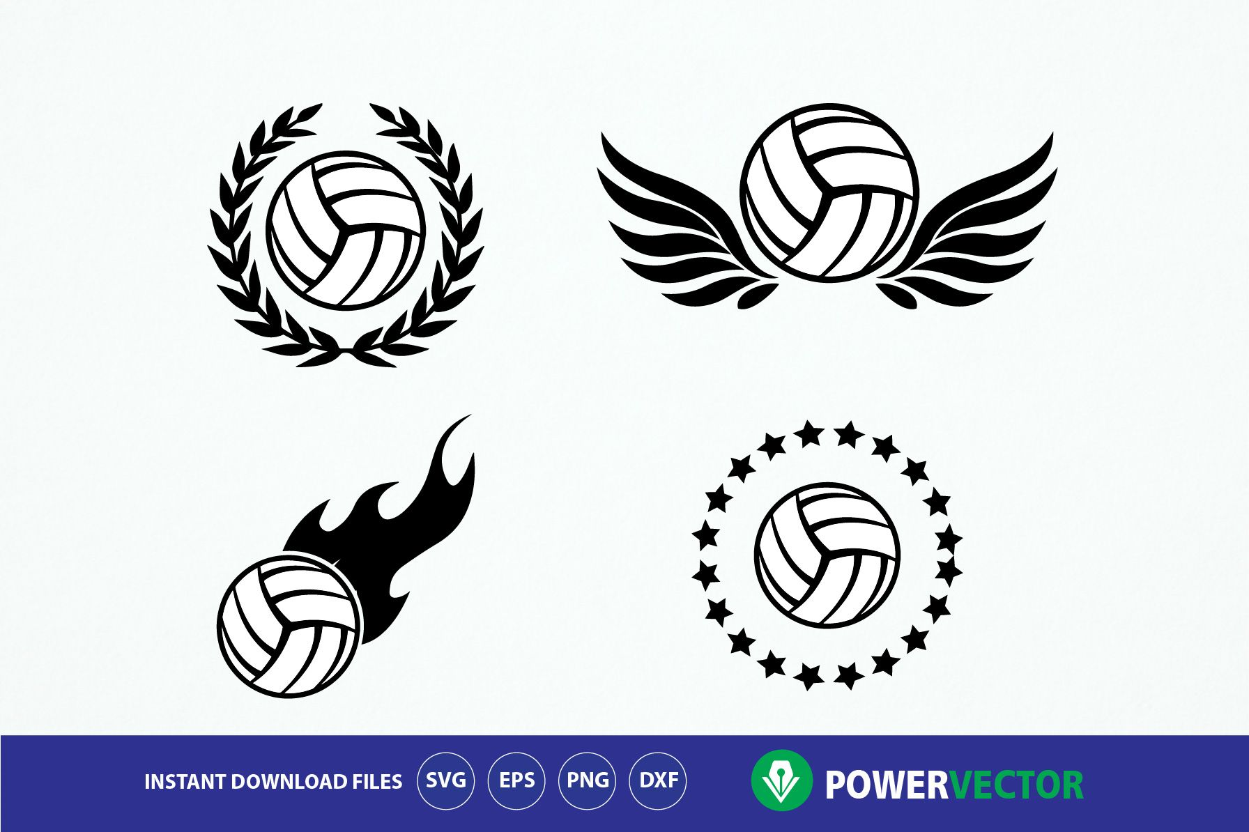 Volleyball Team Logo Emblem Design Svg Dxf Eps Png Files Graphic By Powervector Creative Fabrica Emblem Logo Volleyball Team Team Logo