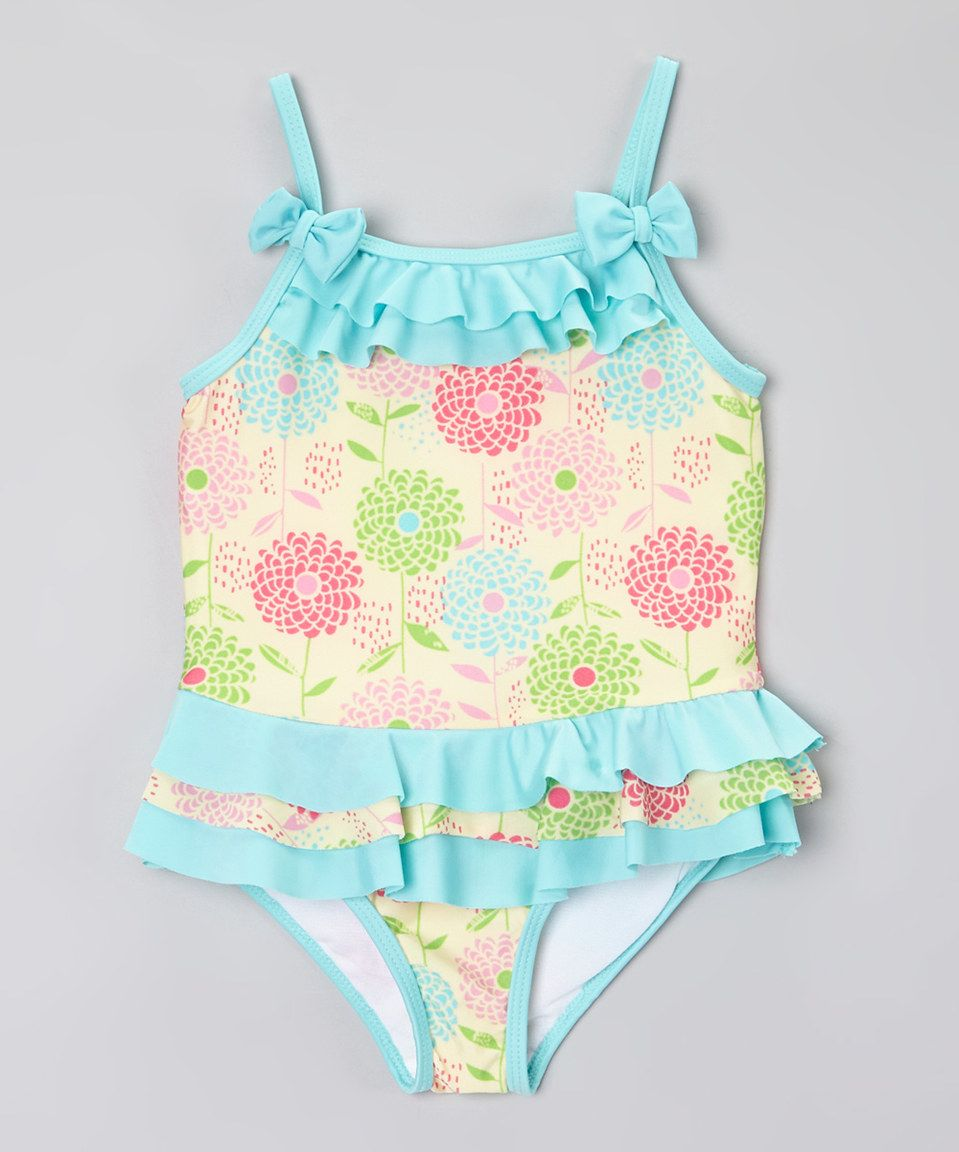 Another great find on #zulily! Blue & Yellow Ruffle Flower Swimsuit - Toddler by Consolidated Clothiers #zulilyfinds