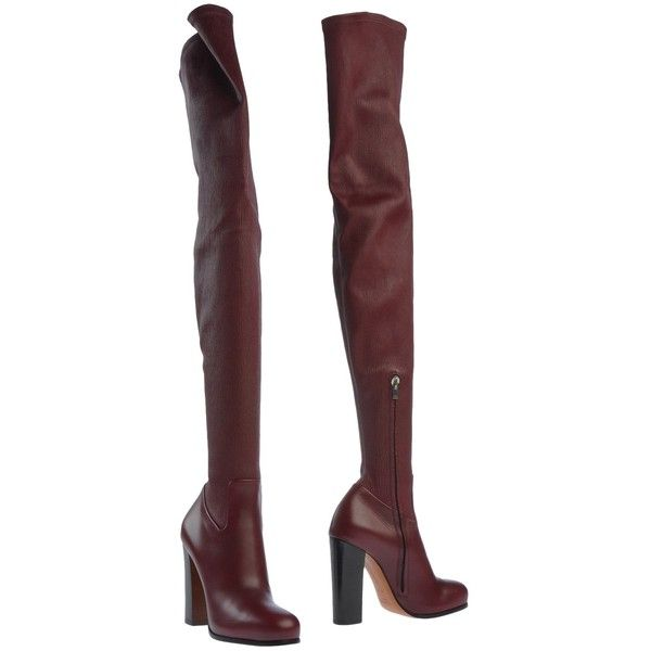 Céline Boots (2.085 BRL) ❤ liked on Polyvore featuring shoes, boots, heels, maroon, thigh high heel boots, heeled boots, thigh boots, over the knee heel boots and above-knee boots