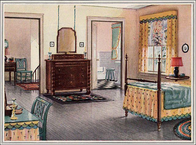 1925 armstrong linoleum bedroom bedrooms 1920s and vintage rh pinterest com Rust and Blue Bedroom Benjamin Moore Quincy Tan in a Bedroom