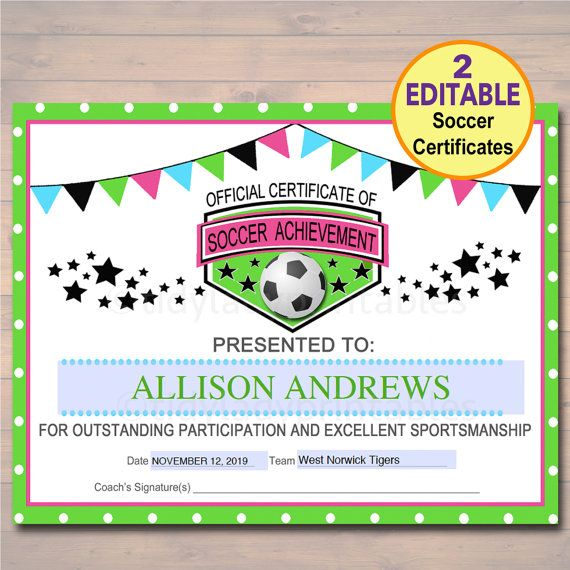 Soccer Award Certificates Instant Download Team Soccer Awards