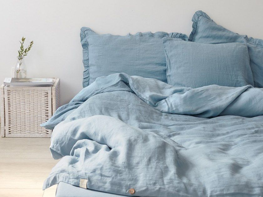 Download The Catalogue And Request Prices Of Dusty Blue Bedding Set By Linen Tales Washed Linen Bed Set D Blue Bedding Sets Blue Bedding Blue Linen Bedding