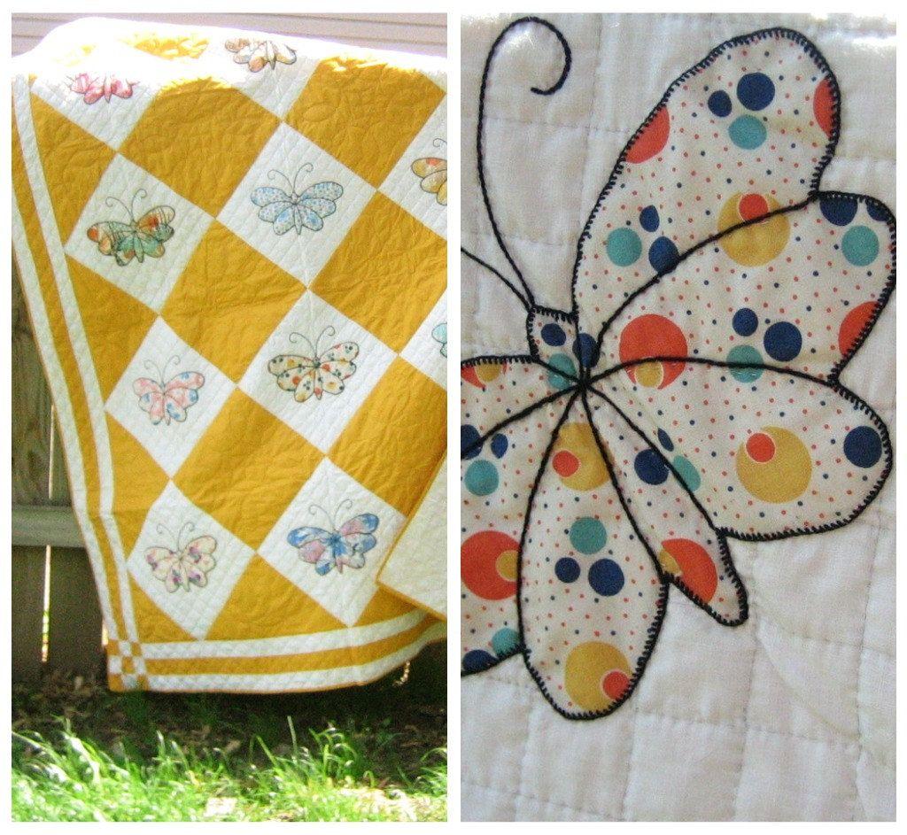 Vintage Quilt Bedroom Decor Wall Decor Vintage Butterfly Quilt Antique Quilt,Handmade Quilt,Bedding,Girls Room Decor Hand Applique Quilt