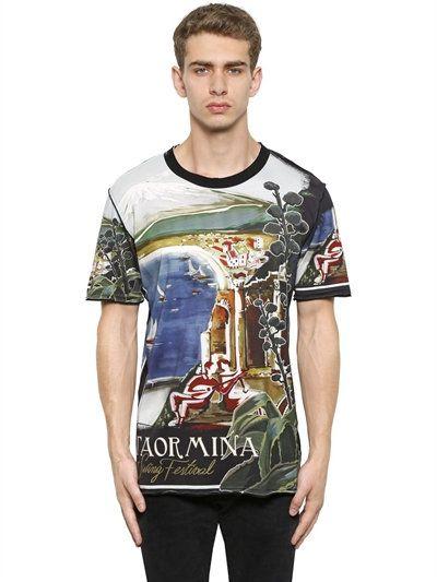 7aa1af579ab1 DOLCE & GABBANA Taormina Printed Cotton Jersey T-Shirt, Multicolor. # dolcegabbana #cloth #t-shirts
