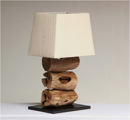 Tiga This Beautiful And Unique Lamp Comprises Of Three Chunky Pieces Of Reclaimed Rustic Teak To