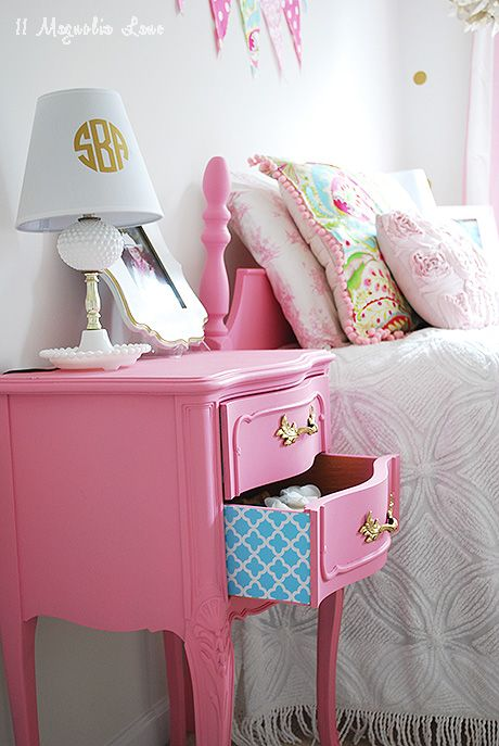 Girl 39 s room in pink white gold decor hometalk for for Cute nightstand ideas