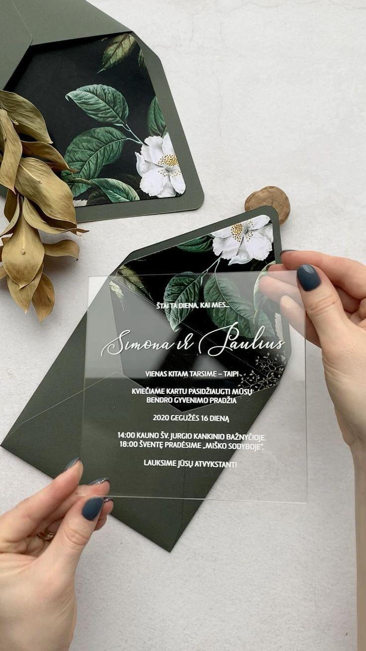 Transparent wedding invitation with stamp / floral