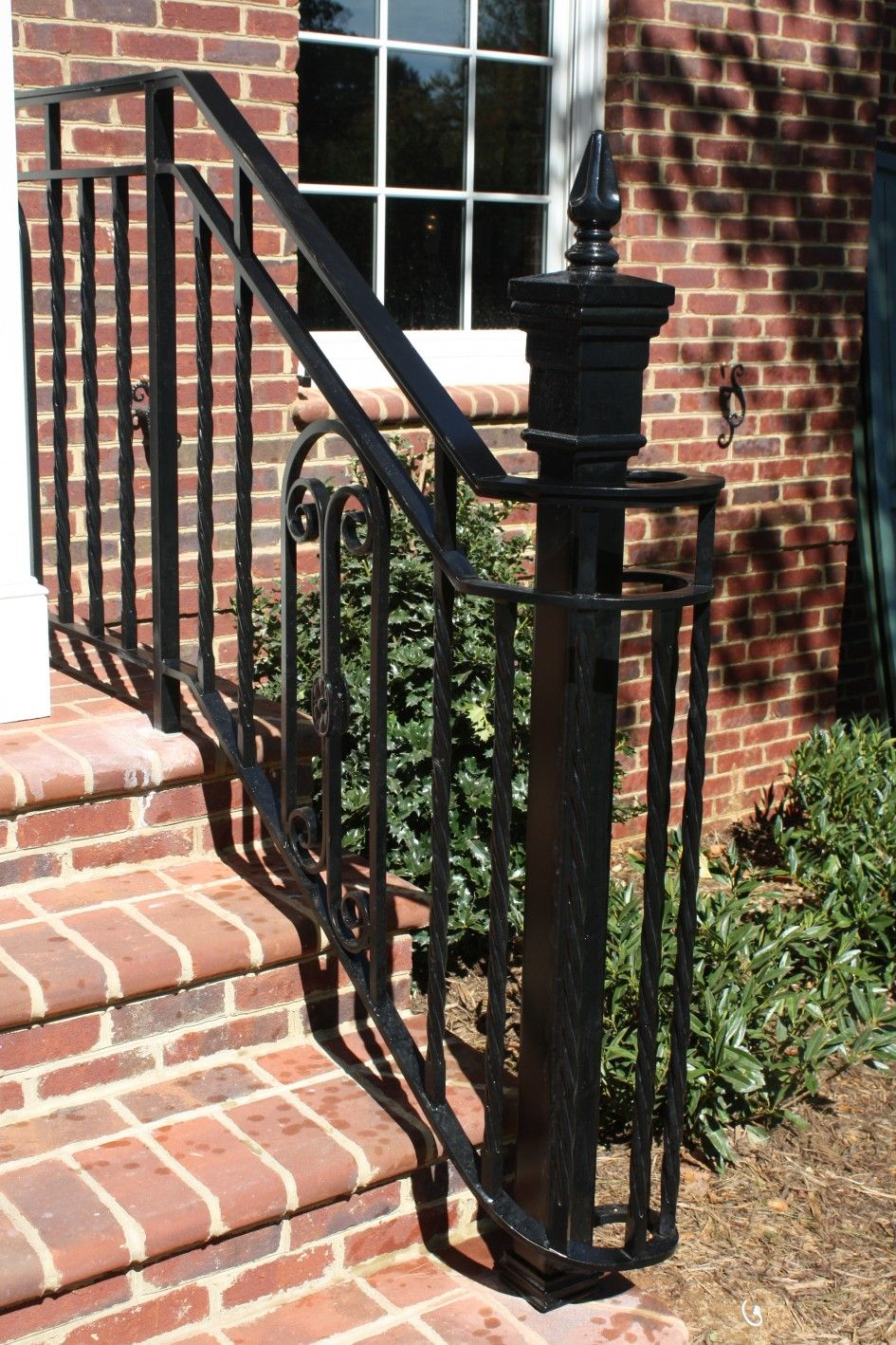 Exterior Small Black Metal Exterior Stairs For Porch With Round