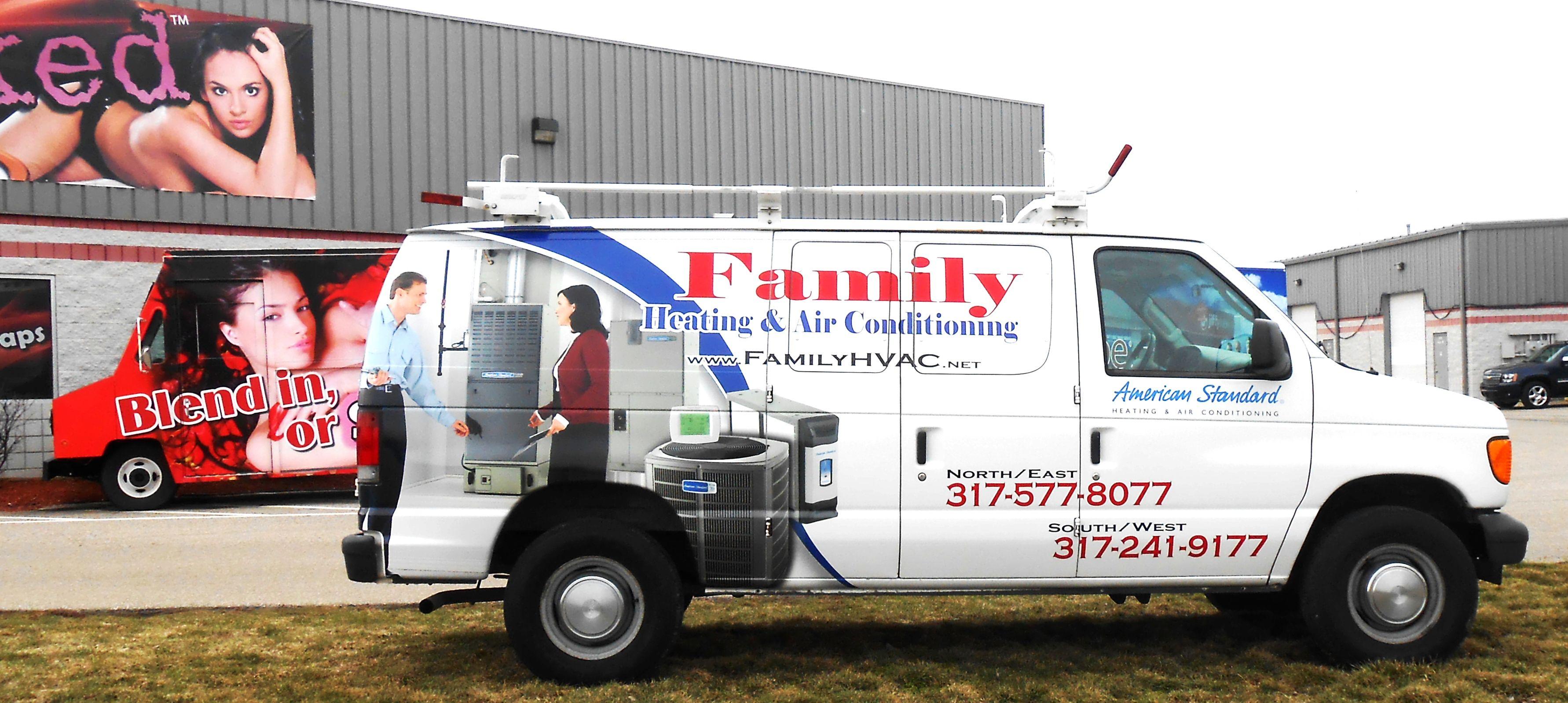 Family Heating & Air Conditioning / HVAC graphics / van