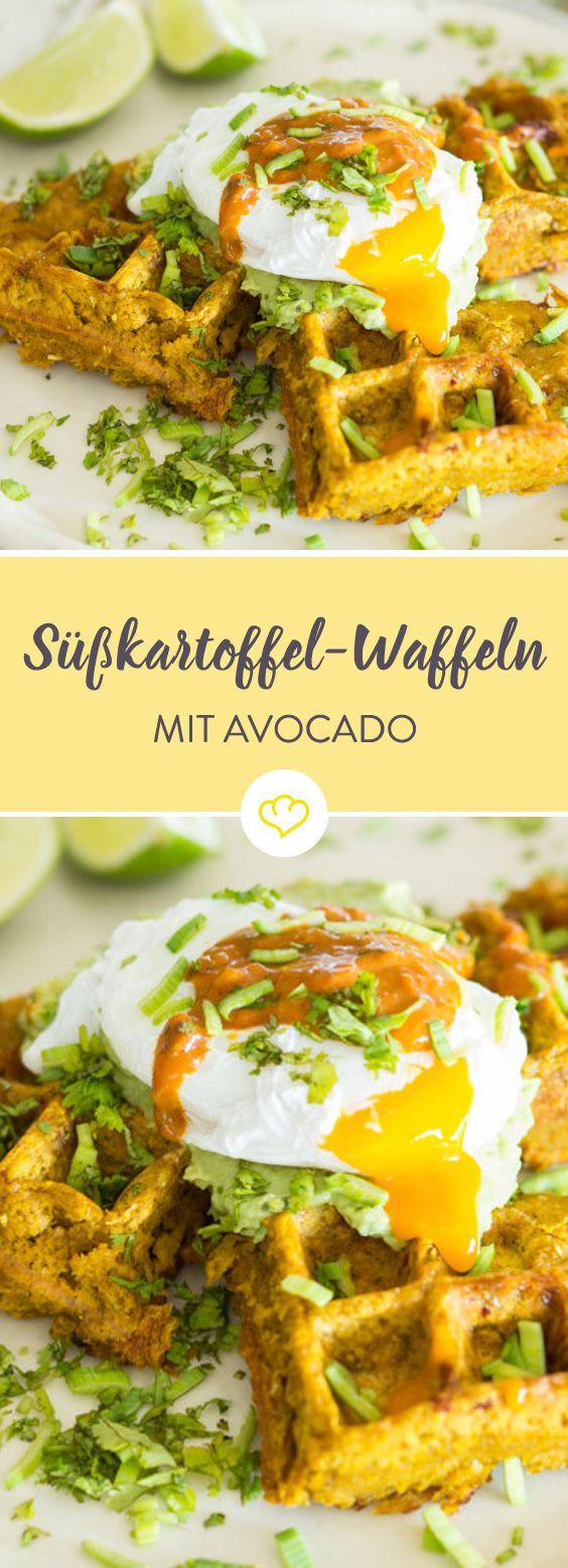 Photo of Sweet potato waffles with avocado cream and poached egg